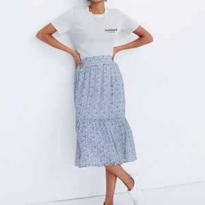 NWT Madewell Floral Tiered Peasant Midi Skirt XS